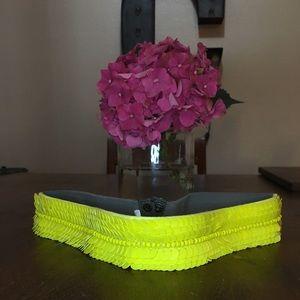 Neon Yellow Bead Elastic Waist Clincher Belt